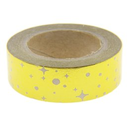 Wholesale Foil Tapes - Wholesale- 2016 Foil Tape Star Pattern Scrapbooking Christmas Washi Tape Kawaii Cute Decorative Paper Crafts Washi Paper Material Escolar