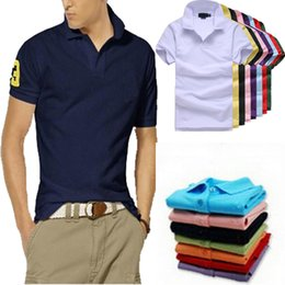 Wholesale Solid Color Shirts - High Quality Summer Big Horse Embroidery LOGO Designs Polo Shirt Men Short Sleeve Casual Men Shirts Slim Fit Polo Homme Cotton Men Polo