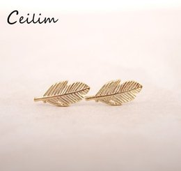 small stud design Coupons - Small cute leaf charms studs earring for women girls unique design alloy silver & gold & rose gold plating hollow out studs fashion earrings