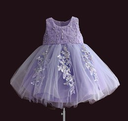 Wholesale First Communion American Girl - 2017 Vintage Flower Girl Dresses for Weddings Lace Gauze Sequins Dress Champagne Lace Tulle First Communion Baby Full Dresses Purple A7581