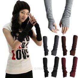 Wholesale Grey Gloves Cotton Long - Wholesale- 2015 New Unisex Autumn Winter Hand Arm Crochet Knit Long Stretchy Fingerless Gloves Warm 1pair