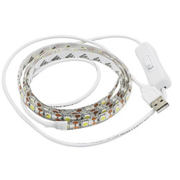 Wholesale Blue Smd Strip 1m - USB 5V LED Strip 5050 SMD TV Background Lighting 1M 60LEDs Warm White   White with Switch
