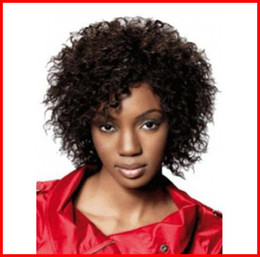 Wholesale Short Afro Curl Wig - Shorts Curly Black Beautiful wigs heat resistant fiber Afro curl kinky curly Synthetic lace front wig curly for black woman DHL bea446