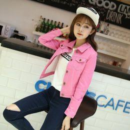 Wholesale White Jacket Denim For Women - Fashion Casual Slim Fit Candy Color Girls Women White Pink Jean Jacket Short Designer Long Sleeve Short Denim Jacket For Women