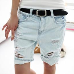 Wholesale Dog Jeans Pants - Wholesale- Shorts Women 2017 Fashion Dog Embroidery Pocket Ladies Jeans Vintage Trousers Women Hole Denim Short Pants S M L XL