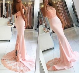 Wholesale Silver Slim Prom Dresses - Mermaid Prom Dresses 2K17 Lace Halter Blush Pink Formal Evening Gowns Court Train Elastic Satin Slim Custom Made Celebrity Party Dress