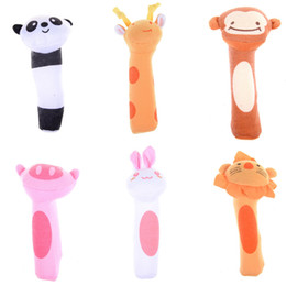 Wholesale Toys Bibi - Wholesale- 1Pc High Quality Lovely Baby Rattle Toy BIBI Bar Animal Squeaker Toys Infant Hand Puppet Enlightenment Plush Doll Hot Sale