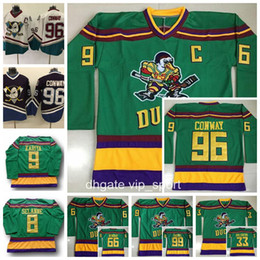 Wholesale Red Reeds - Anaheim Ducks Movie Green 1993 Vintage Jerseys The Mighty Hockey 96 Charlie Conway 33 Greg Goldberg 66 Gordon Bombay 99 Adam Banks 44 Reed