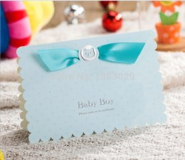 Wholesale First Baby Shower - Wholesale- Free Shipping 24pcs lot New 3D Cartoon Blue Boy Baby Shower Invitation Cards Baby Shower Favor Cards Baby First Birthday Cards