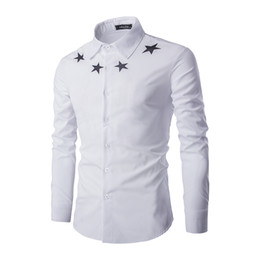 Wholesale Wholesale Luxury Clothing - Wholesale- Long Sleeve Shirts Men 2016 New Casual Five Star Printed Slim Fit Male Brand Clothing Mens Luxury White Cotton Shirts C113