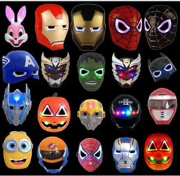 Wholesale Ironman Mask Led - LED Flash Mask Children Halloween Masks Glowing Lighting Mask Avengers Hulk Captain America Ironman Spiderman Christmas LED mask