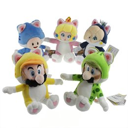 """Wholesale Super Mario Plush Toys Toad - EMS New 5 Styles 7.5""""-9.5"""" 19CM-24CM Super Mario Bros Plush Cat Mario Luigi Toad Peach Rosalina Dolls Soft Birthday Gifts Stuffed Doll Toys"""