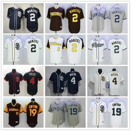 Wholesale San Diego Padres Johnny Manziel Baseball Jerseys Mens Wil Myers Blue Gray White Brown Cheap Throwback Tony Gwynn Jersey