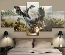 Wholesale Room Painting Games - 5 Panel Horizon Zero Dawn Game Canvas Printed Painting For Living Room Picture Wall Art HD Print Decor Modern Artworks Poster