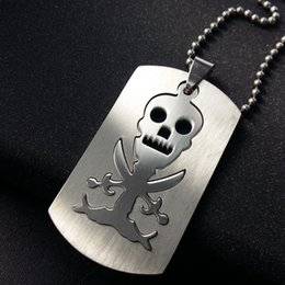 Wholesale Titanium Skull Pendants - Trendy Dog Tag Engraved Skull Pendant Necklace Fashion Stainless Steel Pirates Logo Jewelry Free 50cm Ball Chain