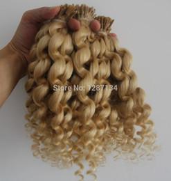 Wholesale Curly Stick Tip Hair Extensions - #613 bleach blonde virgin brazilian hair 100g grade 6a brazilian deep curly hair keratin stick tip hiar extensions human 100S