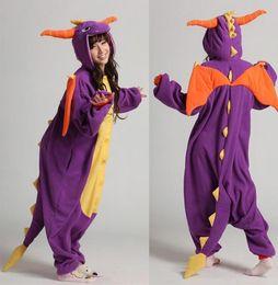 Wholesale Dinosaur Pajamas Adults - Purple Dinosaur Animal Costume Kigurumi Pajamas Cosplay Halloween Suits Adult Romper Cartoon Jumpsuits Unisex Animal Sleepwear