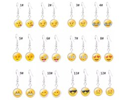 Wholesale Plastic Crystal Gems - Newest Charm QQ Expression Emoji Tassel Dangle Earrings Time Gem Eardrop Women Fashion Jewelry High Quality Free Shipping