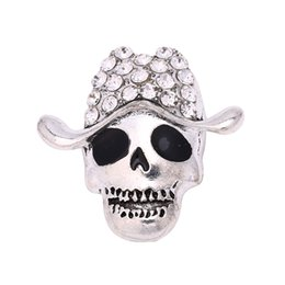 Wholesale Jewelr Wholesalers - Hot wholesale 12pcs Fashion Rhinestone Skull Button 18mm Metal Snap Button Charm Button Ginger Snaps Jewelr