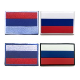 Wholesale wholesale customized patches - Russia flag patches 3D stickers Personality High quality 100% Embroidery patches OR PVC badges customized for clothes 8*5CM free shipping
