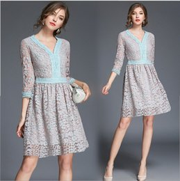 Wholesale Trendy Dresses For Girls - 2017 Fashion Hollow Out Lace Dresses For Women V-Neck Autumn Plus Size One-piece Dress Elegant European Trendy Brief Girl Dresses