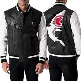 Wholesale Biker Jacket Faux Leather - Leather Jacket Man Brand Name Embroidery Shark Bite Me Letter Color Contrast Slim Fit PU Leather Biker Jacket Men's Metal Patches
