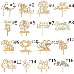 Wholesale Wood Table Kids - Wooden Cake Topper Wood Picks Rustic Wedding Party Kids Happy Birthday Table Decoration Married Love Cake Decorating Heart Mr Mrs Xmas Gift