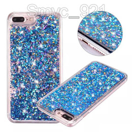 Wholesale 3d Bling Cell Phone Cases - For iphone 6 quicksand case bling diamond glitter 3D liquid phone cases hard PC cell phone case wholesales for iphone 7 7plus case,DHL free