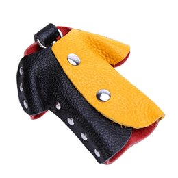 Wholesale color block clothing - Key Organizer Leather Color Block Clothes Shape Small Waist Hanging Keys Bag Double Row Rivet Fashion Gifts 3 7kz F R