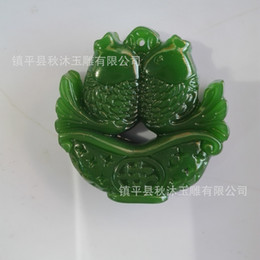 Wholesale Chinese White Jade Necklace - HOT SALE! Old Chinese Style Carved Art Natural Green Jade Pendant-Double Fish