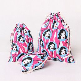 Wholesale Cheap Printed Cotton Bags - Pink Print Fashion Canvas Drawstring Bags For Halloween Top Quality Jewelry Gifts Sacks Pouches Cheap Wholesale