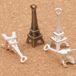 3D Paris Tour Eiffel Alliage Petits Charms Pendentifs 100pcs / lot MIC Bronze Argent Plaqué Élégant 22mm * 4mm L448 ? partir de fabricateur