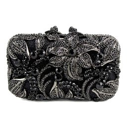 Wholesale Studded Leather Shoulder - Wholesale- Black Women Bag flower shape studded diamond clutch bags fashion classic jewel Purse prom and drinking party Or the party 88611