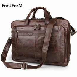 Wholesale Leather Man Briefcase Classic - Wholesale- Men's Classic Briefcase Genuine Leather Business Office 17 inch Laptop Bag Lawyer Handbag Portfolio Satchel Shoulder bag LI-1266