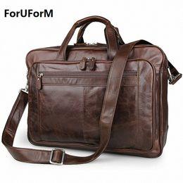 Wholesale Men Portfolio Shoulder Bag - Wholesale- Men's Classic Briefcase Genuine Leather Business Office 17 inch Laptop Bag Lawyer Handbag Portfolio Satchel Shoulder bag LI-1266