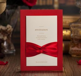 Wholesale Ribbon Wedding Invitations Cards - Red Laser Cut Wedding Invitations Card with Envelope Seal Sticker Ribbon Bowknot Wedding Favor Ceremony Party Customized 50Pcs CW2021
