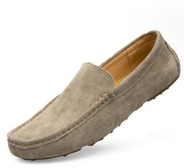 Wholesale Mens Casual Comfort Leather Shoes - New Men Loafers Casual Summer Shoes Fashion Genuine Leather Slip On Driving Shoes Soft Moccasins Holes Comfort Light Mens Flats