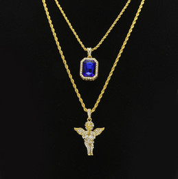 Wholesale Necklace Sets Bling - Women Men Hip Hop Golden Bling Rhinestone Necklaces Pendants Set Micro Angel Jesus Wings Praying hands Jewelry Gifts