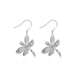 Wholesale Color Dragonfly Charms - Romantic style silver Plated color Dragonfly Shape Earrings Silver Plated Earrings Global Free Shipping LKNSPCE009