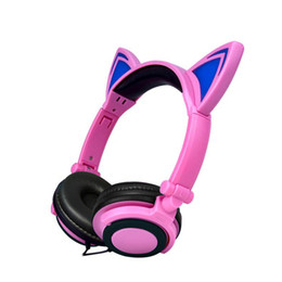 Wholesale Pink Cat Ears Headband - Foldable Flashing Glowing Cute Cat Ear Headphones Gaming Headset Earphone with LED light For PC Laptop Computer Mobile Phone