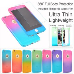 Wholesale Blue Protective Film - New Gradient Full Body Cover 360 Degree Protective Phone Case + Tempered Glass film for Huawei p9