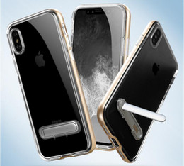 Wholesale Iphone Silver Bumper - Fashion SGP Hybrid 2 in 1 Clear Soft TPU PC bumper Transparent Case Cover with Stand Holder for iPhone X 8 7 6 6S plus Samsung S9 S8 plus