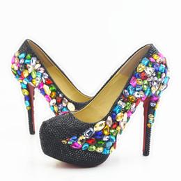 Argentina 5 8 11 14 CM talones totalmente con cuentas negro y multi color gemas cenicienta zapatos baile de fin de curso tacones altos dama de honor hecho a mano zapatos de boda 320 Suministro