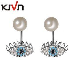 Wholesale Evil Eye Green - KIVN Fashion Jewelry Evil Eye Pave CZ Cubic zirconia Simulated Pearl Bridal Wedding Earring Ear Jackets for Women Christmas Gift