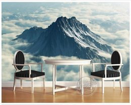 Wholesale kitchen oil proof wallpapers - High end Custom 3d photo wallpaper murals wall paper Oil painting alpine white clouds 3d living room wallpaper background wall home decor