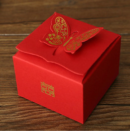 Wholesale Wedding Supplies Butterfly Decorations - Upscale Wedding Candy box Party Supplies wedding Decoration Creative red Chinese style Bronzing butterfly Gift Box DIY home decor wholesale