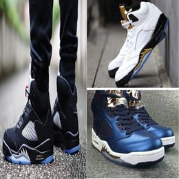 Wholesale Football Medal - 2017 air retro 5 mens basketball shoes Olympic Gold Medal OG Black White Space Jam sneaker sport shoes Athletic shoes cheap EUR 41-47