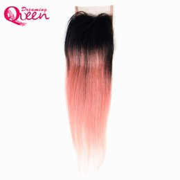 Wholesale Human Hair Straight Gold - Rose Gold Color Straight 4X4 Lace Closure Brazilian Ombre 100% Virgin Human Hair Closure With Baby Hair Honey Blonde Ombre Lace Closure