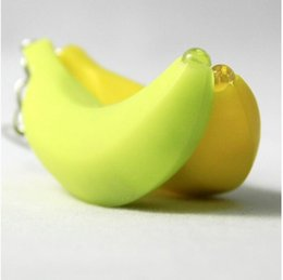 Mini Led luz Lanterna Banana Anéis Chave New Creation Safe Light Bag Telefone Pingente De Carro Chaveiro XMAS Brinquedos Presentes de
