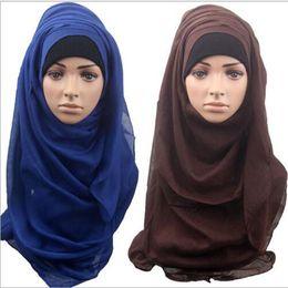Wholesale Maxi Scarves Plain - 14 Color Shawls and Scarves Solid Plain Hijab Scarf Women Wraps Foulard Viscose cotton Maxi Shawls Soft Long Islamic Muslim Scarves Hijabs